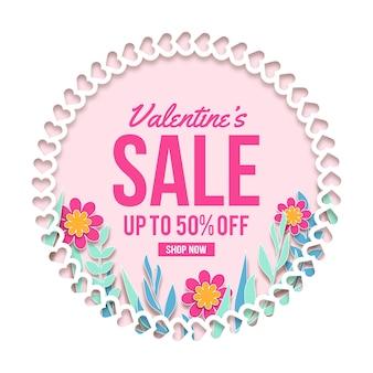 Platte valentijnsdag met verkoop