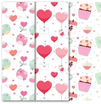 Platte valentijnsdag naadloze patroon collectie