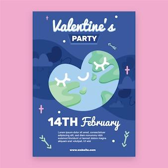 Platte valentijnsdag partij flyer / poster sjabloon