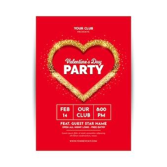 Platte valentijnsdag partij folder / poster sjabloon