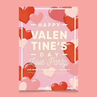 Platte valentijnsdag partij folder sjabloon