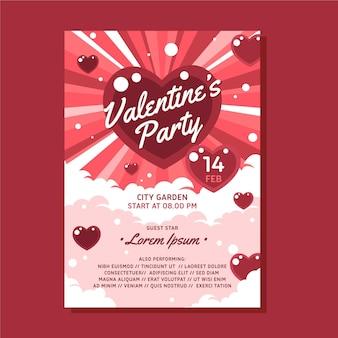 Platte valentijnsdag partij poster sjabloon Gratis Vector