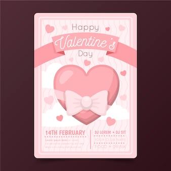 Platte valentijnsdag partij poster Gratis Vector