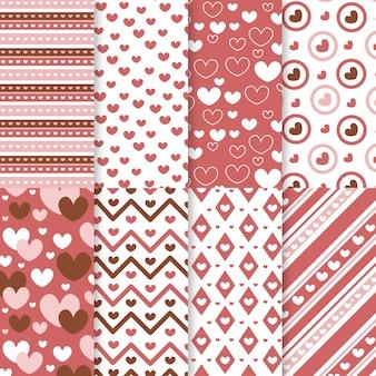 Platte valentijnsdag patroon collectie