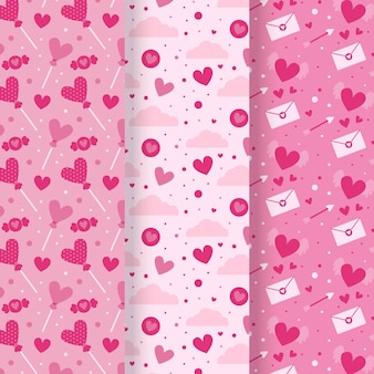 Platte valentijnsdag patroon ingesteld