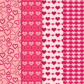 Platte valentijnsdag patroon pack