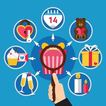 Platte valentijnsdag pictogrammenset in kleine cirkels over romantische relatie en geschenken