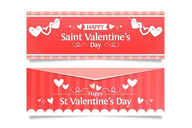 Platte valentijnsdag promotionele banners