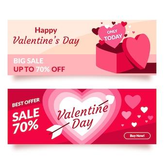 Platte valentijnsdag verkoop banner ontwerp