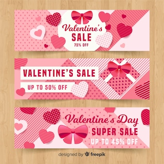 Platte valentijnsdag verkoop banner