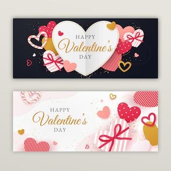 Platte valentijnsdag verkoop banners