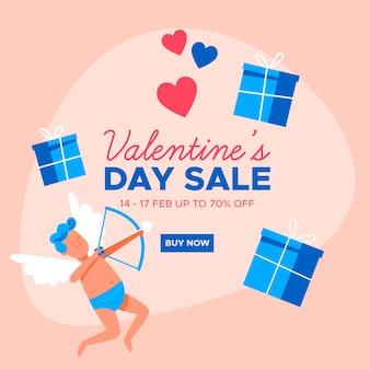 Platte valentijnsdag verkoop en cupido met geschenkdozen