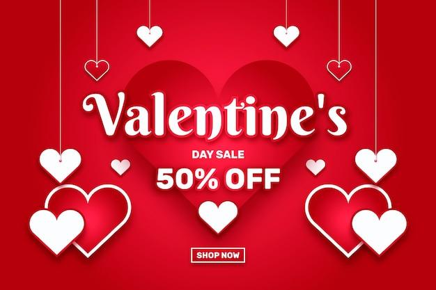 Platte valentijnsdag verkoop illustratie