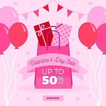Platte valentijnsdag verkoop met ballonnen