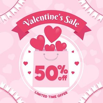 Platte valentijnsdag verkoop met boodschappentas