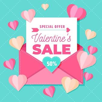 Platte valentijnsdag verkoop met envelop