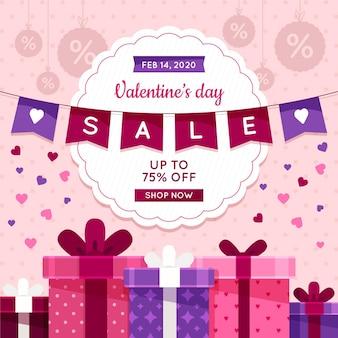 Platte valentijnsdag verkoop met geschenken