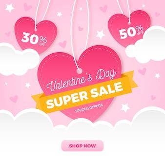 Platte valentijnsdag verkoop met harten