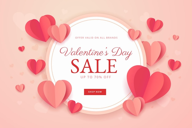Platte valentijnsdag verkoopsjabloon