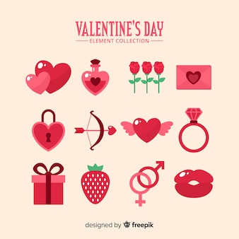 Platte valentine elementen collectie