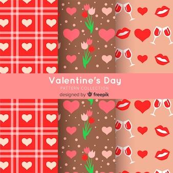 Platte valentine elementen patroon pack