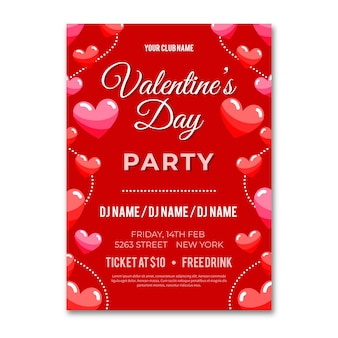 Platte valentines partij posterontwerpsjabloon
