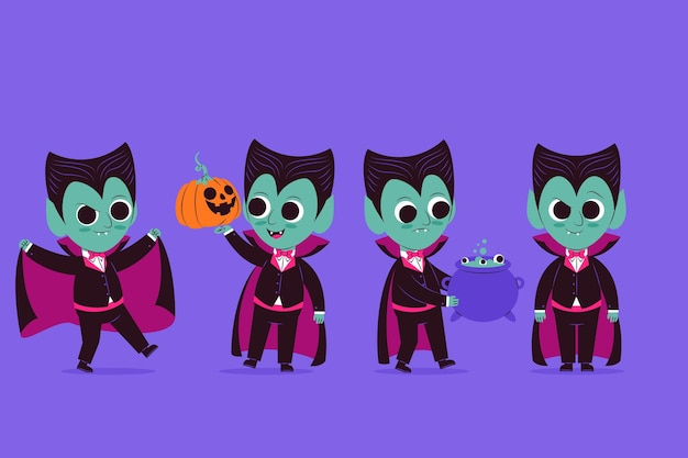 Platte vampierkarakterverzameling