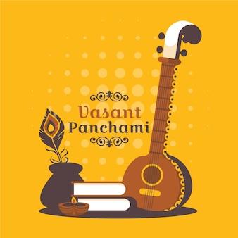 Platte vasant panchami festival illustratie met instrument