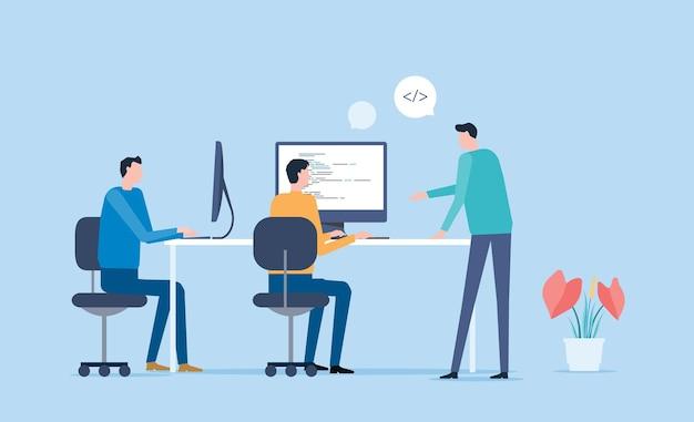 Platte vector business team werken en vergaderconcept