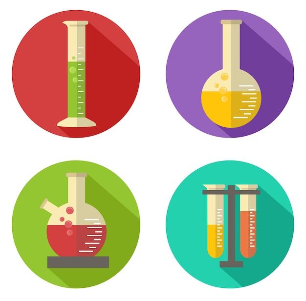 Platte vector chemische kolf en glazen pictogram