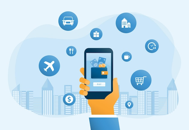 Platte vector illustratie ontwerp mobiele portemonnee en mobiel betalingsconcept