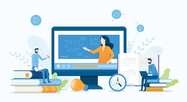 Platte vector illustratie ontwerp online onderwijs en leren thuis concept