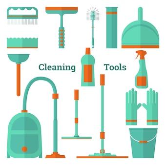 Platte vector illustratie set gereedschappen voor het reinigen en reinigen van apparatuur vector iconen