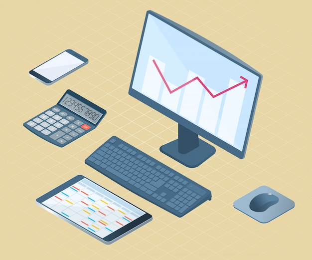 Platte vector isometrische illustratie van elektronische kantoorapparatuur: desktop pc, mobiele telefoon, tablet pc, wiskundige rekenmachine.