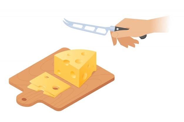 Platte vector isometrische illustratie van snijplank, stuk kaas hoofd, hand met keukenmes.