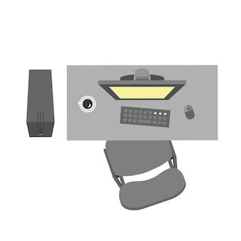 Platte vector kantoor werkplek