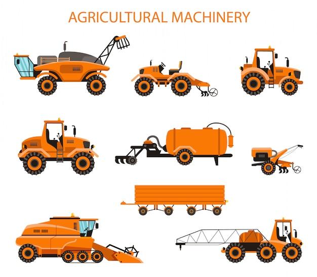 Platte vector moderne set landbouwmachines.