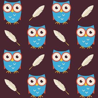 Platte vector naadloze patroon uilen met veren. moderne vlakke stijl vector textuur achtergrond. kennis sjabloon. terug naar school. wijsheidsvogeluil met schrijfveer