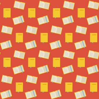 Platte vector naadloze patroon veel boeken. vlakke stijl textuur achtergrond. kennis wetenschap en onderwijs sjabloon. terug naar school.