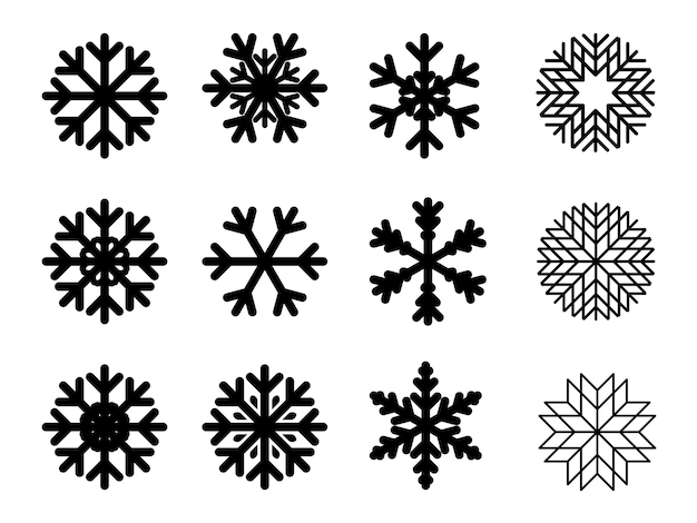 Platte vector sneeuwvlokken ontwerp kerstmis en nieuwjaar decoratie element set. vector illustratie.