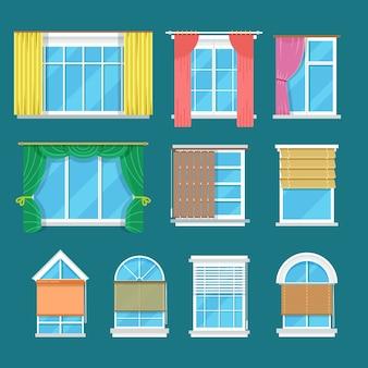 Platte vector venster met gordijnen, gordijnen, tinten jaloezieën