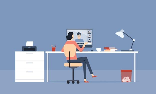 Platte vector vrouwen videoconferentie met team en thuis werken concept