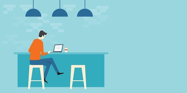 Platte vector zakenman aan het werk in coffeeshop concept