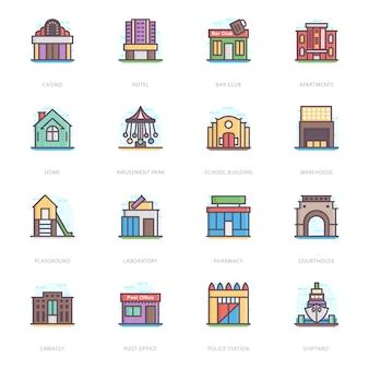 Platte vectoren van het bouwen van architecturen