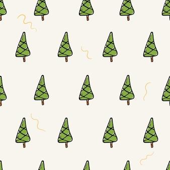 Platte vectorillustratie cartoon. naadloze patroon met doodle iconen van kerstbomen. nieuwjaar decoraties achtergrond.