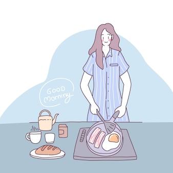 Platte vectorillustratie met een meisje dat in de keuken kookt