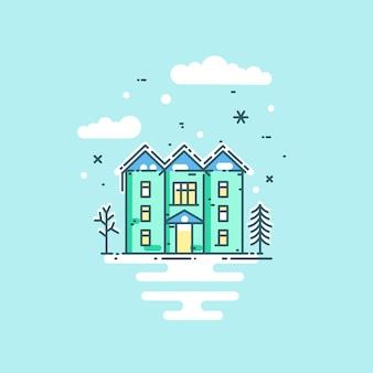 Platte vectorillustratie met huis, bomen, wolken en sneeuw.