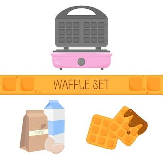 Platte vectorillustratie met wafelijzer wafels meel eieren wafel recept wafels set pictogrammen