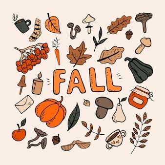 Platte vectorillustratie op een herfstthema: champignons, groenten, bladeren, schattige attributen. doodle-objecten worden uitgesneden. achtergrond decoratie.