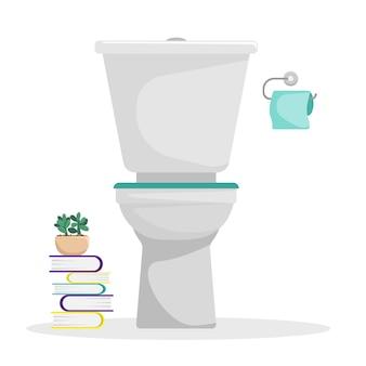 Platte vectorillustratie. toilet met een rol wc-papier aan de muur. stapel boeken. een op zichzelf staand figuur.